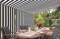 Markilux patio awning with shadeplus valance option for extra privacy