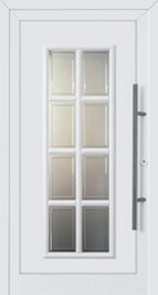 exterior door for home with fluted glass squares