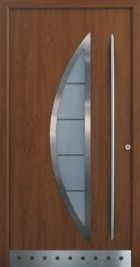 hormann front door with crescent powder coated in decograin golden oak