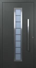 aluminium front entrance door for household finished in CH 703 black light grey metallic
