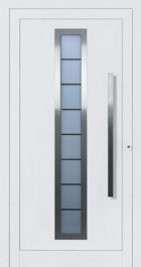 aluminium metal front door powder coated in white RAL 9016