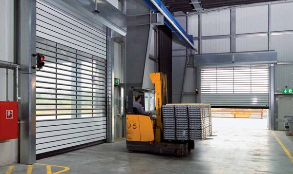 insulated high speed roller door with vision panels