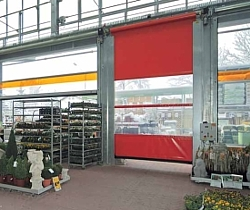 high speed curtain roller door in garden centre