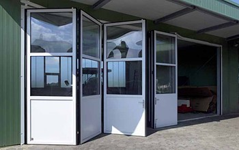 half glazed aluminium framed folding doors