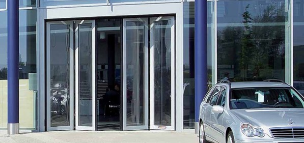 folding doors in a commercial application for a showroom