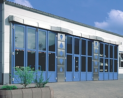 triple set of folding industrial doors
