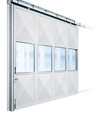 sliding metal door with glazing
