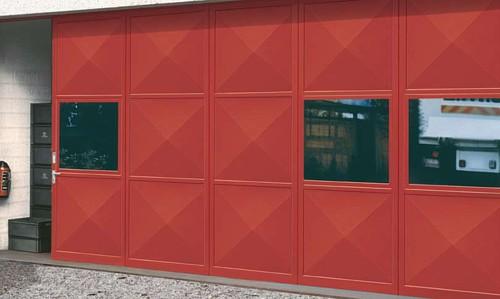 single skin red sliding industrial door