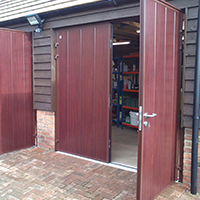 Side Hinged type doors for your garage in Rosewood Finish