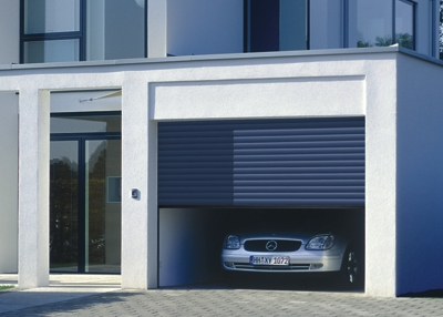 roller garage door in blue finish