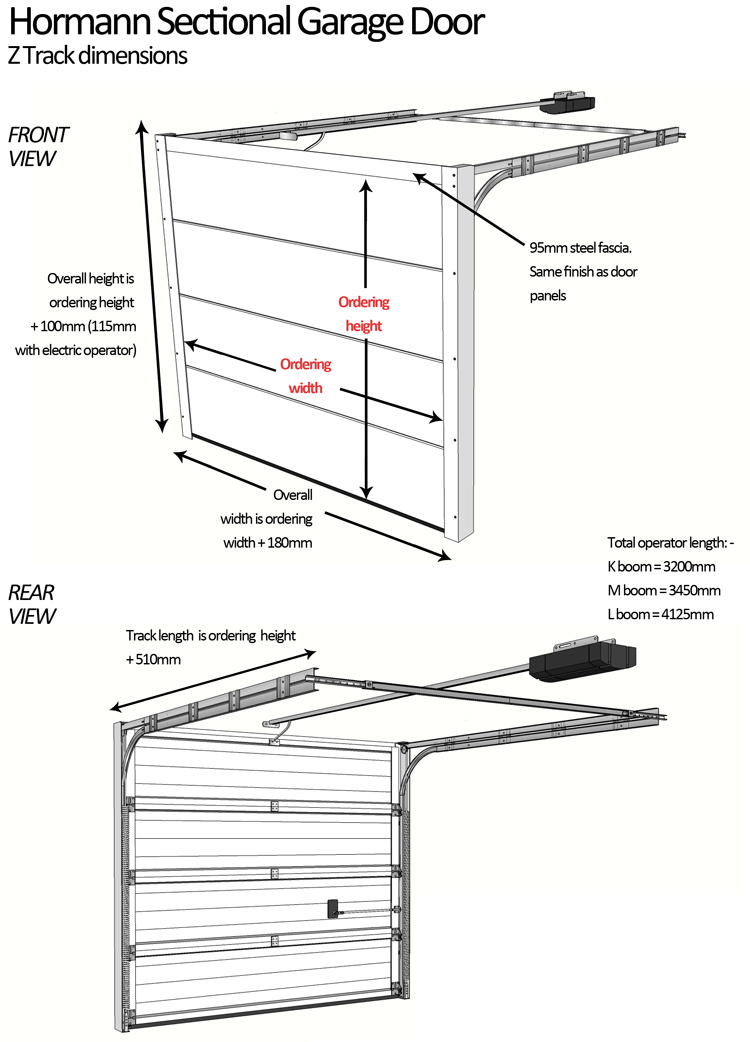 Sectional garage door measurement for Standard width of a garage door