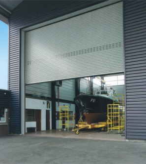 large industrial roller shutter steel door