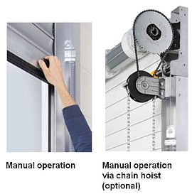 spring assisted or chain operated roller doors