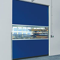 vision panel for safety in a speed door