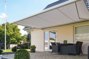 markilux retractable patio awning with valance offering sun shade protection to garden patio area