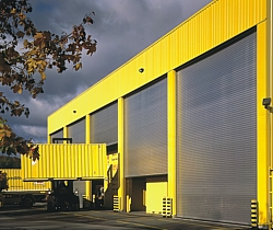 Large roller shutter door on warehouse unit