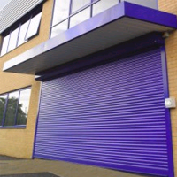 large security shutter over entrance doorway