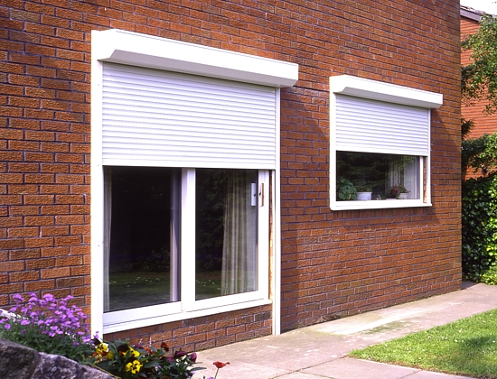 window security shutters in white finish