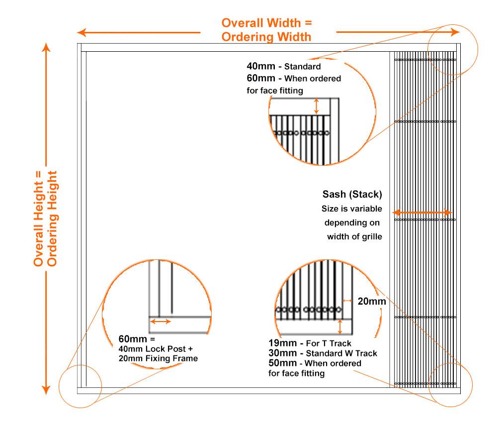 Retractable Grille Ordering Dimensions   Commercial Garage Door Dimensions. Commercial Garage Door Dimensions   doortodump us