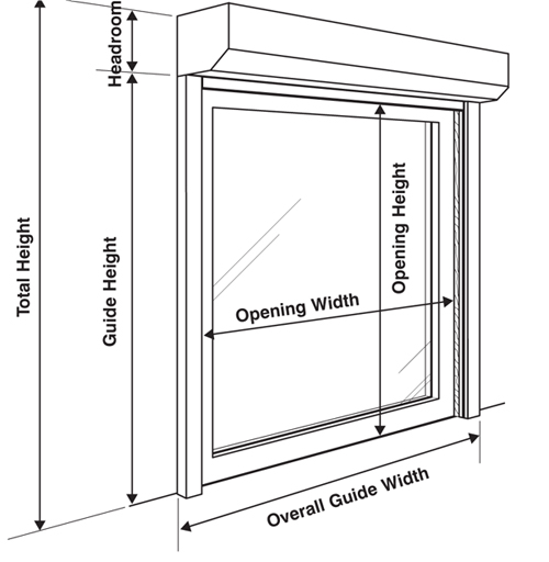 Security shutter dimensions and measurements
