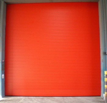 insulated roller shutter door in red