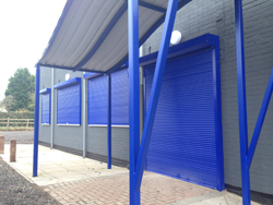 blue security shutters closed and secured