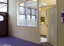 OIT samson doors multipurpose door in reception waiting room windowed area