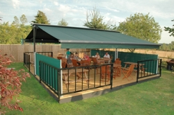 Commercial restaurant dining area terrace cover decking free standing