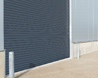 large industrial roller door in grey