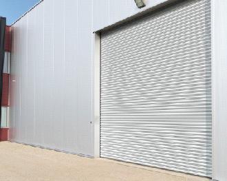 silver roller shutter factory door