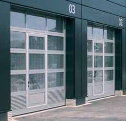 hormann tar40 sectional door installed on car manufacturer showroom