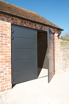 unribbed style side hinged doors in grey